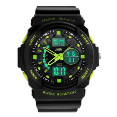 Waterproof Digital LCD Alarm Date Mens Military Sport Wrist LED Watch Green