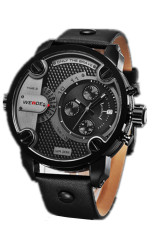 Weide 2305D Genuine Leather Big Dial Case Quartz Watch (Grey) (Intl)
