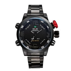 WEIDE 2309 Stainless Steel LED Quartz Men's Watch With LED Time Display And Black Steel Band (White) - Intl