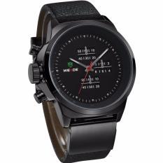 Weide Japan Quartz Miyota Men Leather Sports Watch 30M Water Resistance - WH3305 - Black