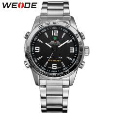 WEIDE Luxury Band Analog-digital LED Display Men's Sports Japan Quartz Wrist Military Watch 24-hour Dispatch WH1009 (Black)