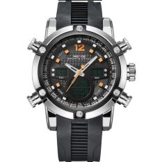 WEIDE Men's Fashion Double Time LCD Analog Digital Black Rubber Band Sports Watch