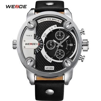 WEIDE Watches Men Luxury Brand Leather Strap Quartz Dual Time Analog Date Sport Military Oversize Men Wristwatches 3301 - intl