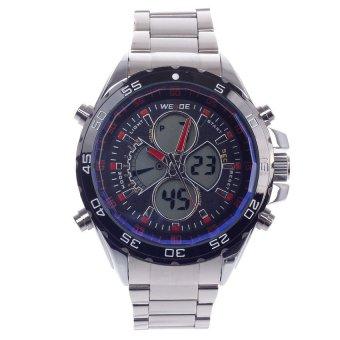 WEIDE WH-1103 Vogue Sport Mens Quartz & LED Dual Time Display Wrist Watch(Silver Black) (Intl)