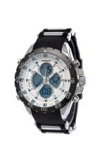 WEIDE WH-1103 Waterproof Men's LED Digital Analog Dual Time Display Rubber Band Sports Wrist Watch With Date / Week / Alarm White