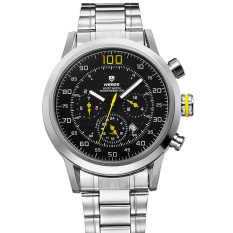 WEIDE WH-3311 Men's Fashion Stainless Steel Band 3ATM Waterproof Quartz Watch with Calendar - Black + Yellow + Silver