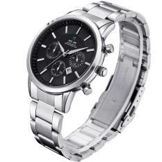 WEIDE WH-3312 Men's Fashion Stainless Steel Band Waterproof Analog Quartz Watch with Calendar - Black (Intl)