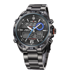 WEIDE WH-3403 Men's Casual Stainless Steel Analog&Digital Water Resistant Wristwatch - Black + Blue