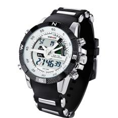 WEIDE WH1104PU-BW Men's Resin Band Quartz Digital Analog Wrist Watch White