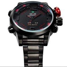 Weide WH2309 Laki-Laki Olahraga Militer Kuarsa Sejalan Waktu Pameran Digital Alarm Jam Tangan Memimpin Ganda Merah