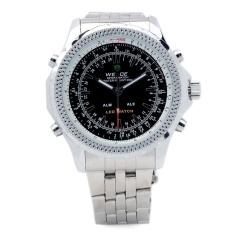 WEIDE WH904 Luxury Brand Stainless Steel Digital + Analog Quartz LED Wrist Watch for Men -