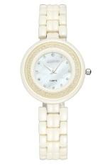 Weigin Fashion Flowing Rhinestone Decoration Women Ultrathin Beige Color Ceramic Quartz Watch (Intl)