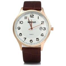 WeiQin 2608 Men Ultrathin Date Leather Analog Quartz Watch COFFEE GOLDEN SILVER (Intl)