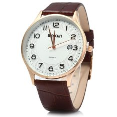 WeiQin 2608 Men Ultrathin Date Leather Analog Quartz Watch (SILVER)