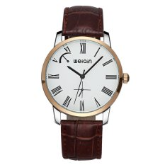 WEIQIN Brand Of High-grade Leather Men's Leisure Mens Watch 5ATM Waterproof Watch-Coffee Gold White (Intl)