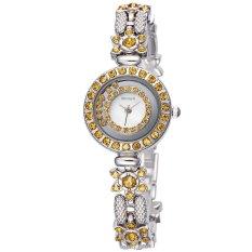 WEIQIN Flower Shape Shell Dial Flowing Beads Decoration Beauty Trend Women Dress Wrist Watches Yellow