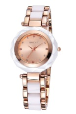 Weiqin Lady Round Rhinestone Dial Alloy & Plastic Decorative Band Women Fashion Dress Watches Gold (Intl)