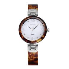 WEIQIN New Rose Gold Watches Women Resin Band Shell Dial Analog Quartz Wirstwatch Hardlex Rhinestone Display Luxury Watch