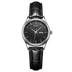 Weishi BUREI Auto Date Women Watch Genuine Leather Strap Quartz Casual Wristwatch 30M Waterproof Fashion Lady Dress Watches Reloj Mujer (Black Black Leather)