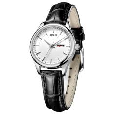 Weishi BUREI Auto Date Women Watch Genuine Leather Strap Quartz Casual Wristwatch 30M Waterproof Fashion Lady Dress Watches Reloj Mujer (Black White Leather)