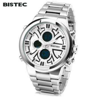 [WHITE] BISTEC 208 Men Dual Movt Digital Quartz Sport Watch Calendar Chronograph LED Male Wristwatch - intl