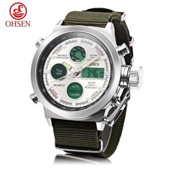 [WHITE] OHSEN AD1601 Male Dual Movt Quartz Digital Watch Chronograph Date Day Alarm 3ATM