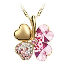 Whyus-New Durable Premium Jewelry Gold Plated Crystal Lucky Four Leaf Clover Pendant Necklace (Pink) - Intl