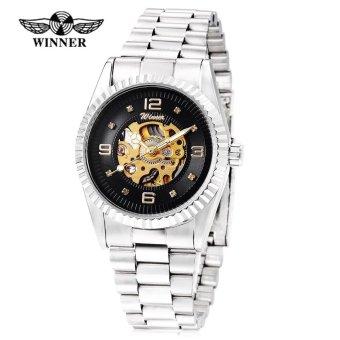 Winner 002 Male Auto Mechanical Watch Crystal Scales Luminous Wristwatch for Men (Gold) - intl