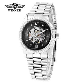 Winner 002 Male Auto Mechanical Watch Crystal Scales Luminous Wristwatch for Men (Silver) - intl