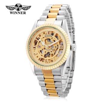 Winner 002 Male Auto Mechanical Watch Gear Bezel Luminous Wristwatch for Men (Gold) - intl