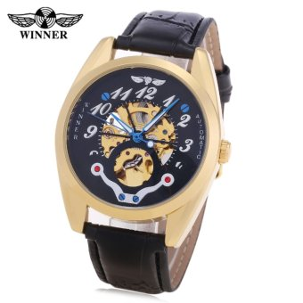 Winner A071 Men Auto Mechanical Watch Hollow-out Dial Leather Band Wristwatch