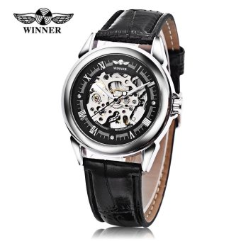 Winner Auto Mechanical Men Watch Artificial Diamond Scales Visible Movt Luminous Male Wristwatch (Black) - intl