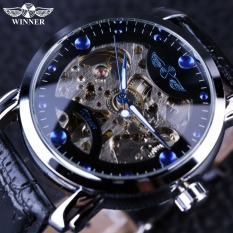 Winner Black Blue Dial Mens Watches Top Brand Luxury Skeleton Mechanical Automatic Watch Classic Designer Watches Men Wristwatch - Intl