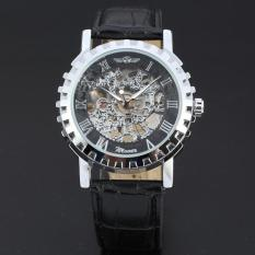 WINNER Classic Leather Strap Skeleton Men Mechanical Hand Wind Watch Black WW139