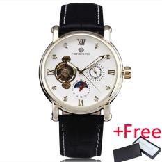 WINNER Classic Precision Women's Automatic Mechanical Wrist Watch Jam Tangan Leather Strap Sub Dials Tourbillon W