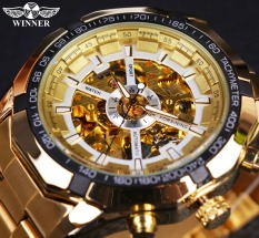 Winner Classic Transparent Full Golden Mens Watches Top Brand Luxury Men Sport Automatic Skeleton Wrist Watch - Intl