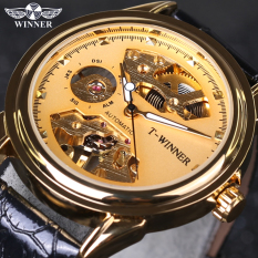 Winner Designer Transparent Golden Casual Skeleton Stainless Steel Mens Top Brand Luxury Mechanical Watch