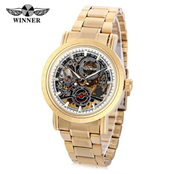 WINNER F1205334 Male Auto Mechanical Watch Hollow Dial Luminous Stainless Steel Band Wristwatch (White) - intl