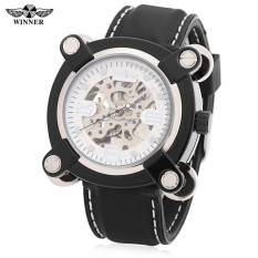 Winner Fashion Men Auto Mechanical Watch Hollow-out Dial Silicone Band Wristwatch