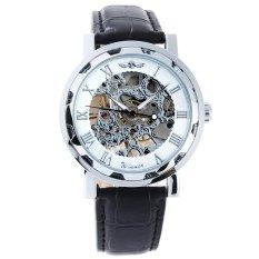 Winner Mechanical Men's Leather Strap Wrist Watch (Black & White) (Intl)