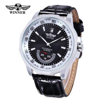 WINNER Men Auto Mechanical Watch Date Display Working Sub-dial Wristwatch