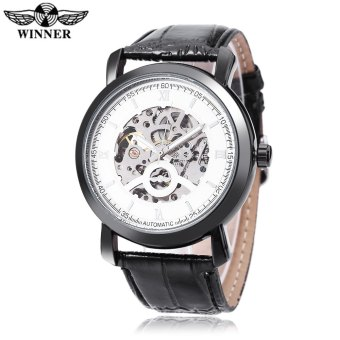 WINNER Men Auto Mechanical Watch Hollow-out Dial Leather Band Wristwatch