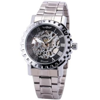 Winner Men's Automatic Mechanical Watch Golden Stainless Steel Strap Gear-shaped Case Roman Number +Box 223 - intl