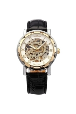 WINNER Men's Boys Hollow-out Skeleton Round Dial Hand-Winding Manual Mechanical Wrist Watch With PU Band White + Golden - Intl