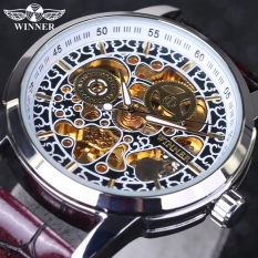 Winner Men's Luxury Brand Military Mechanical Watches Leather Hollow Skeleton Watch Relojes Hombre