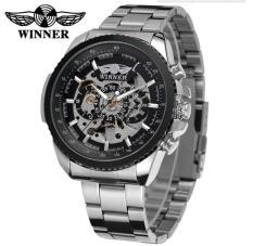 Winner Skeleton Automatic Mechanical Watch Men Mechanical Watches(Black) - intl