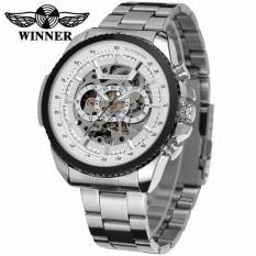 Winner Skeleton Automatic Mechanical Watch Men Mechanical Watches(White) - intl