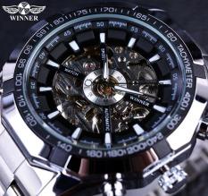 Winner Sport Skeleton Stainless Steel Designer Men Automatic Casual Mechanical Wristwatch - Intl