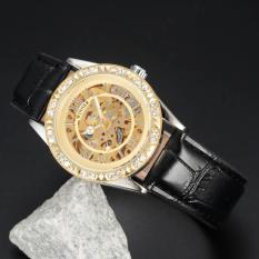 WINNER Stainless Steel Case Leather Strap Women Female Fashion Business Sport Casual Skeleton Automatic Mechanical Lady Luxury Elegant Wrist Watch Gift Wristwatches - Intl