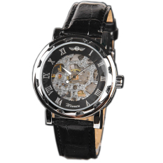 Winner U8018 Automatic Mechanical Watch - Jam Tangan Pria - Black - Leather
